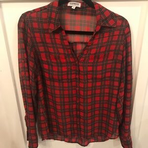 Red plaid sheer button up blouse